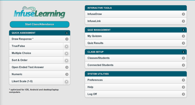 Infuse learning teacher screen