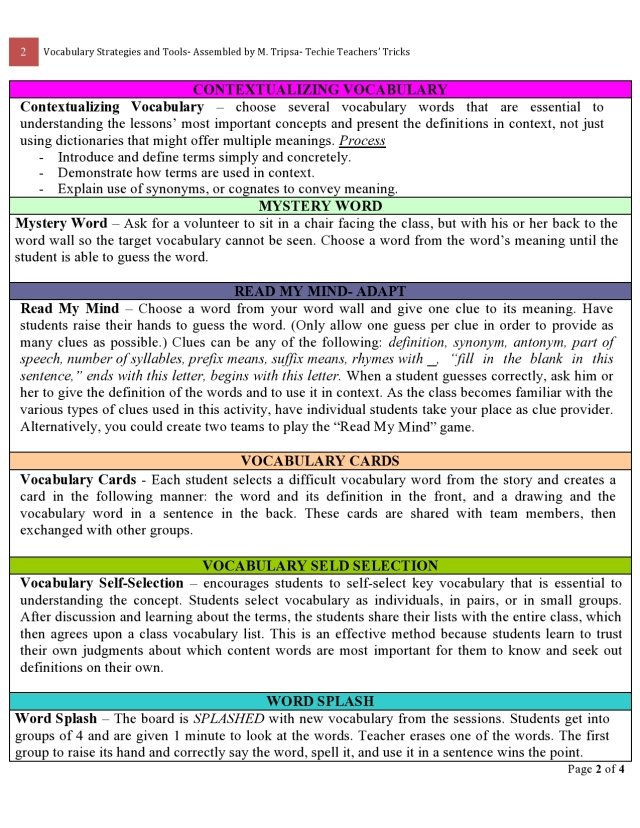 VOCAB STRATEGIES and TOOLS 2